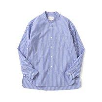 STILL BY HAND / SH02212 バンドカラーシャツ - Blue Stripe