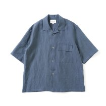 STILL BY HAND / SH03212 リネン オープンカラー半袖シャツ - Blue Grey