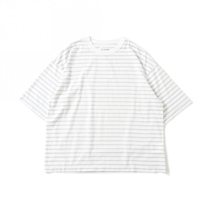 159808664 STILL BY HAND / CS01212 オーバーサイズ ボーダーTシャツ - White/Grey 01