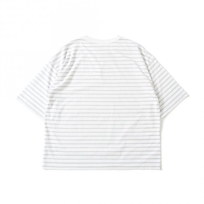 159808664 STILL BY HAND / CS01212 オーバーサイズ ボーダーTシャツ - White/Grey 02