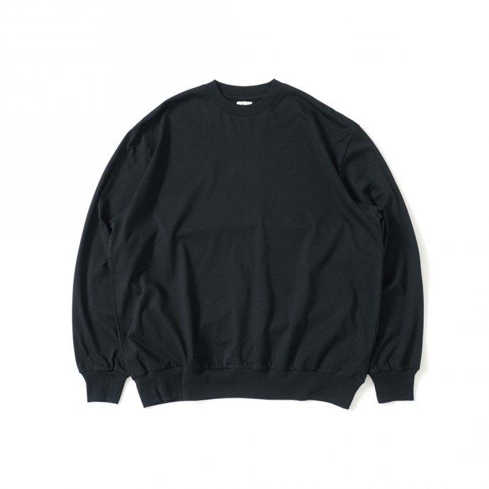162159811 blurhms ROOTSTOCK / Silk Cotton 20/80 Crew-neck BIG L/S - Black シルクコットンクルーネックカットソー ROOTS2107F21 01