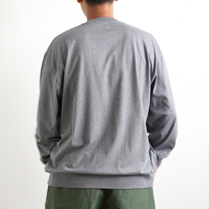 162159836 blurhms ROOTSTOCK / Silk Cotton 20/80 Crew-neck BIG L/S - HeatherCharcoal シルクコットンクルーネック ROOTS2107F21 02