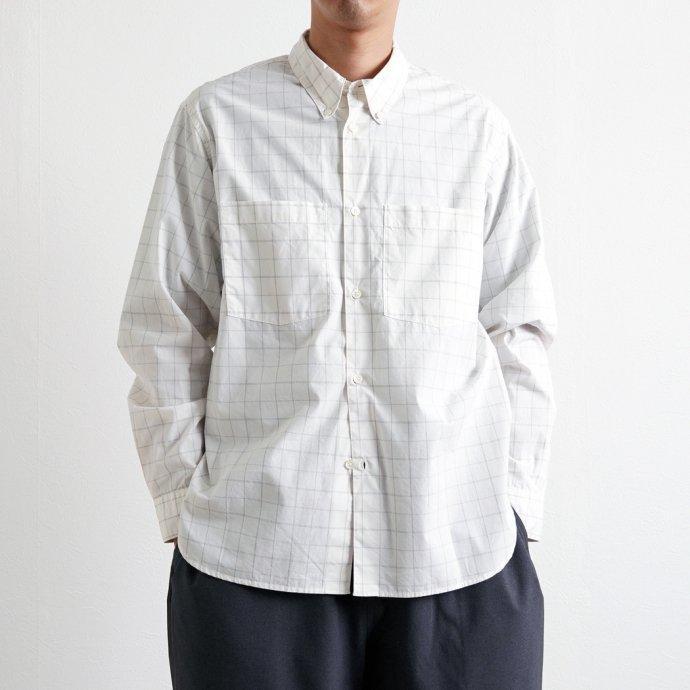 162988192 STILL BY HAND / SH01211 ボタンダウンシャツ - White Check 02