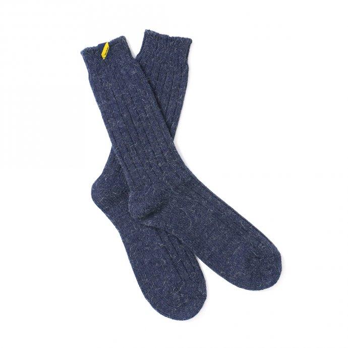 163194161 Trad Marks / Old Rib Socks Angora アンゴラ混リブソックス - Indigo 02