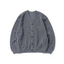 crepuscule / 2103-002 Moss stitch V/N cardigan - Gray ミックス鹿の子編みVネックカーディガン グレー