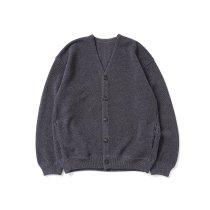 crepuscule / 2103-002 Moss stitch V/N cardigan - Indigo ミックス鹿の子編みVネックカーディガン インディゴ