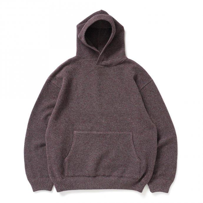 crepuscule / 2103-004 Moss stitch hoodie - Burgundy ミックス鹿の子編みフーディー バーガンディ