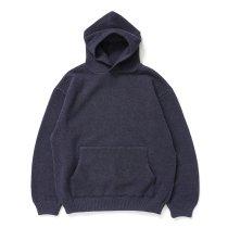 crepuscule / 2103-004 Moss stitch hoodie - Navy ミックス鹿の子編みフーディー ネイビー
