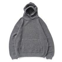 crepuscule / 2103-004 Moss stitch hoodie - Black ミックス鹿の子編みフーディー ブラック