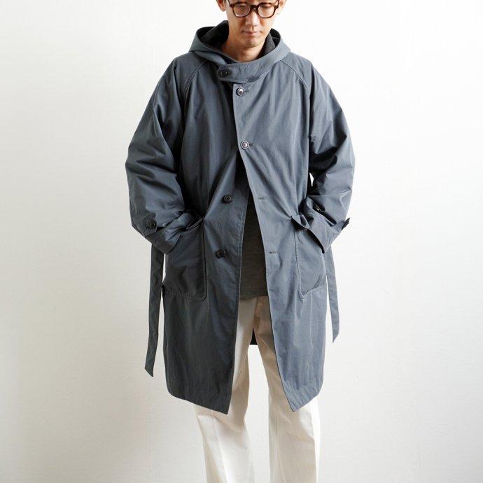 163474170 STILL BY HAND / CO02213 ウールライナー フーデッドコート - Blue Grey 01