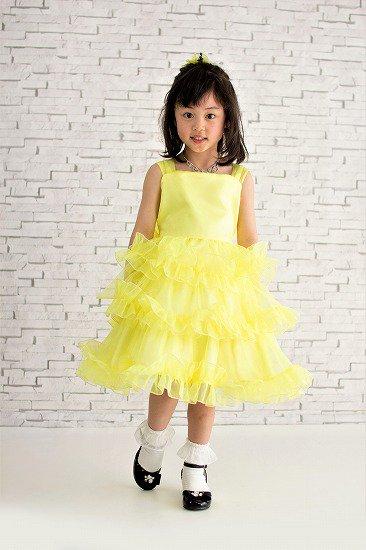 3段フリルのプリティー黄子供ドレス