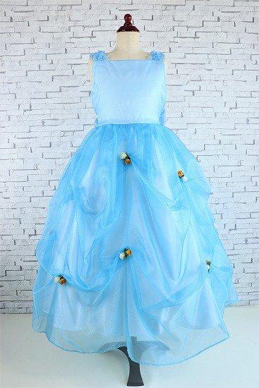 ブルーのふんわりつまみ子供ドレス