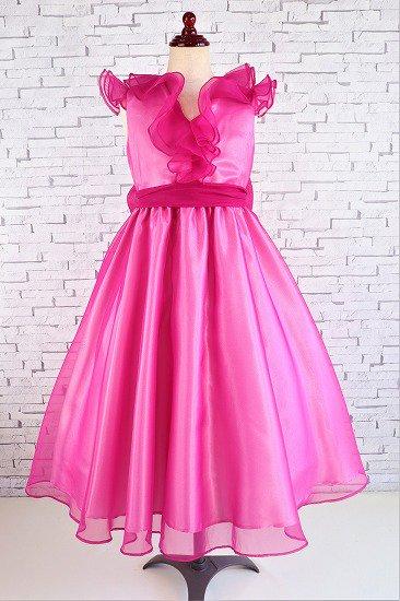【アウトレットドレス】フリルのローズドレス