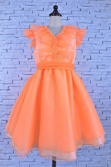 【アウトレットドレス】フリルのオレンジドレス
