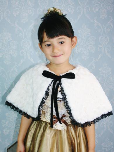 No1206ふわふわ子供ケープ(ホワイト)