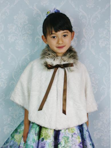 No1209おしゃれなファー衿子供ケープ(ホワイト)
