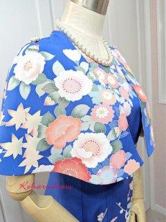 着物リメイクお呼ばれワンピ★振袖リメイク水色花文様ケープ付きソフトマーメイドドレス(正絹)