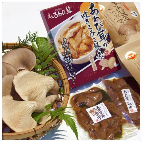 あわび茸の詰合せB 足太あわび茸(生)300g ちっぷす2袋 山椒煮1袋 昆布煮1袋 炊き込みご飯の素1袋