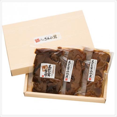 滋賀竜王足太あわび茸の佃煮セット(箱入り)山椒煮100g×2袋 昆布煮100g×1袋