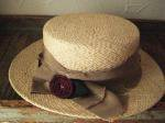 Barairo no Boushi/バラ色の帽子 ダメージリボンカンカン帽/L-4384 (ベージュ)