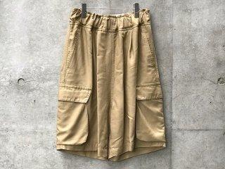 Semi gloss rayon back satin cargo shorts