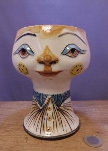 旧東ドイツ 陶器 人形の花瓶  個性的な花瓶 大 DDR porcelain face doll vase big