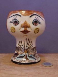 旧東ドイツ 陶器 人形の花瓶  個性的な花瓶 小 DDR porcelain face doll vase small