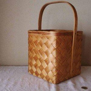 スウェーデン ヴィンテージ 木のバスケット カゴ バッグ sweden vintage wicker bag basket wood