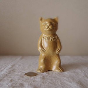 ベルギー 猫 ビンテージ 貯金箱 bergium porcelain pottery hotel beau-site catmur cat piggy bank