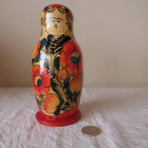 ヴィンテージ 大ぶりのお花 マトリョーシカ  特大・VINTAGE OLD Matyoshka Russian nesting doll