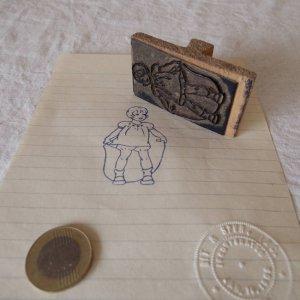 アメリカの古い教材ハンコ 縄跳び 女の子 usa vintage stamp seal girl