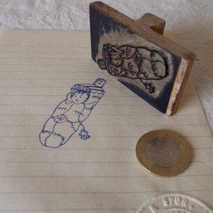 アメリカの古い教材ハンコ ネイティブアメリカンの赤ちゃん usa vintage stamp seal native american papoose