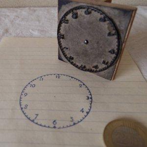 アメリカの古い教材ハンコ 時計の練習 usa vintage stamp seal clock