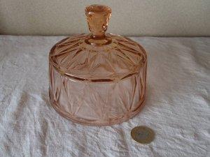 フランス ガラス ドーム フードカバー ローズピンク・france glass food cake cheese cover dome