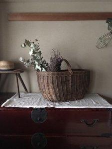ハンガリー 農家 カゴ 編み 特大 バスケット カゴ バッグ hungary vintage big basket
