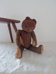 ハンガリー テディベアー ぽってりプラスチックアイ グロウラー ブラウン hungary teddy bear old vintage growler brown curvy