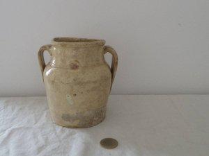 イタリア 取手のついた壺 陶器 花瓶 Italia pottery jar vase