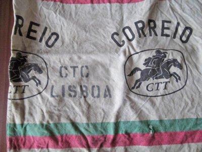 ポルトガル リスボン郵便局の大きな袋 1 ビンテージ 材料 Portugal post office sack big bag