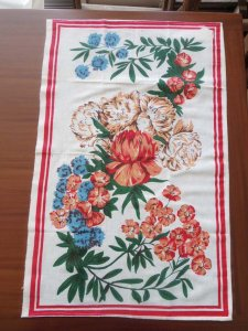 ルーマニア デッドストックのキッチンリネン タオル レトロ ボタニカル フラワー 1 Romania deadstock kitchen cloth botanical