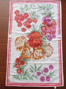 ルーマニア デッドストックのキッチンリネン タオル レトロ ボタニカル フラワー 2 Romania deadstock kitchen cloth botanical