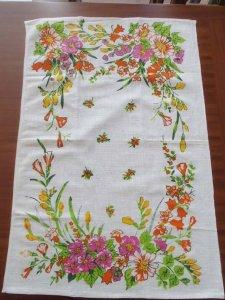 ルーマニア デッドストックのキッチンリネン タオル レトロ フラワー オレンジ1 Romania deadstock kitchen cloth flower