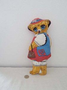 ハンガリー レトロ ヴィンテージ 猫のぬいぐるみ・hungary stuffed cat toy retro vintage