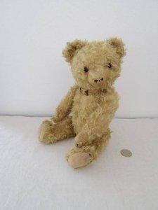 ドイツ テディベアー グラスアイ イエロー 革チョーカー Germany teddy bear old vintage glass eyes leather choker