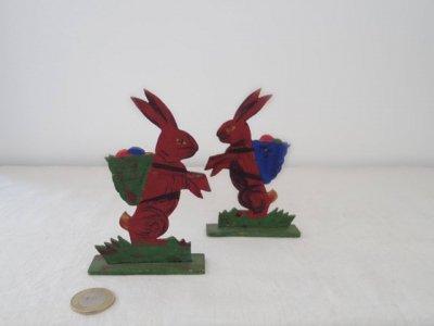 ドイツ デリバリー イースターバニー ハンドメイド 木の置物 ・Germany wooden easter bunny rabbit egg delivery
