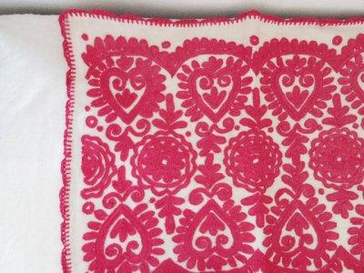 ルーマニア 刺繍 ハート イーラーショシュ クッションカバー ピローケース 53.5X41 赤 Romania irasos enbroidery