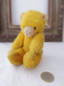 ハンガリー コロッと 小さなテディベアー イエロー hungary teddy bear old vintage small yellow