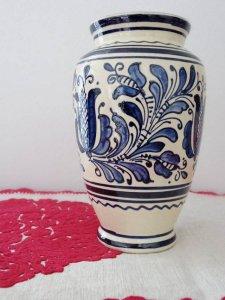 ルーマニア コロンド村の陶器の花瓶 大きい 青・Romania Korond pottery vase big blue