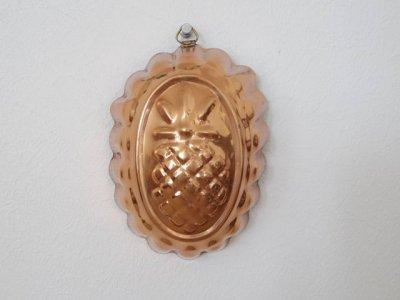 銅 焼き菓子型 楕円 アザミの紋章 アーティチョーク・Copper Mold Mould oval thistle artichoke