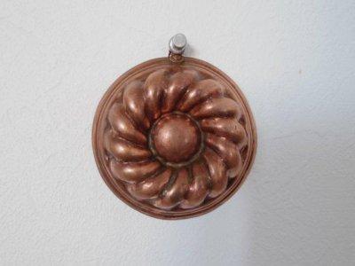 銅 焼き菓子型 ミニ クグロフ ねじれ菊 リース 1・Copper Mold Mould small kouglof
