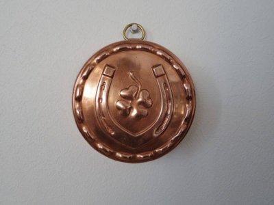 銅 焼き菓子型 中 馬蹄と四つ葉のクローバー 1・Copper Mold Mould horseshoe medium four leaf clover